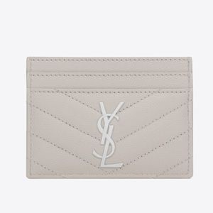 YSL Credit Card Case Textured Matelasse Leather